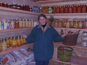 Nancy stored her canning along with root crops