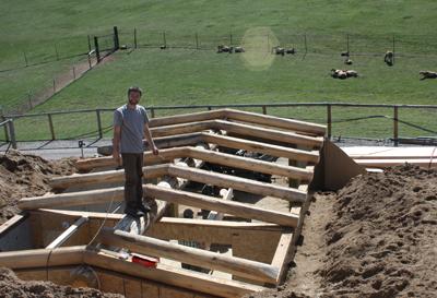 Brook & Daniel set the log rafters